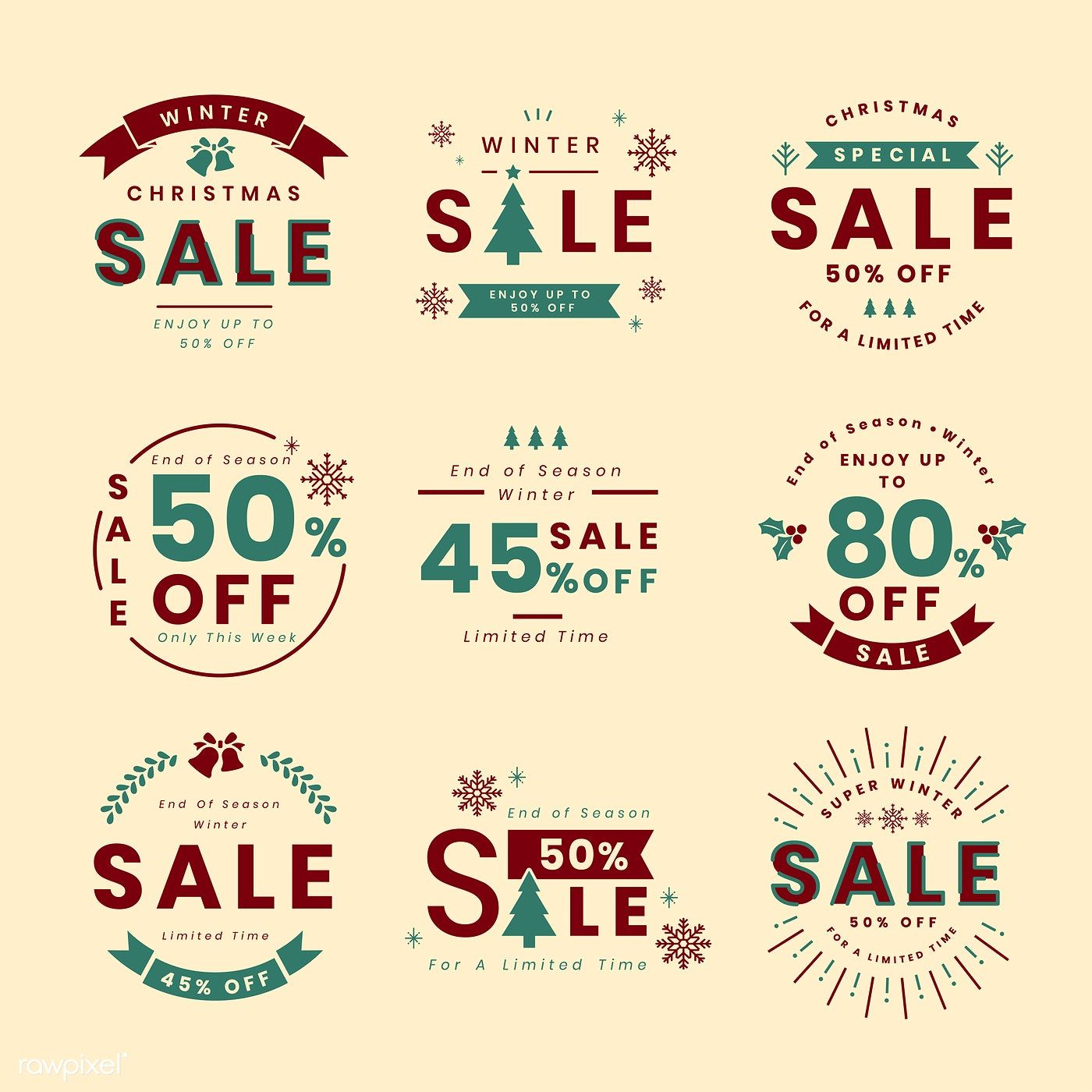 Set of Christmas promotion vectors free image by