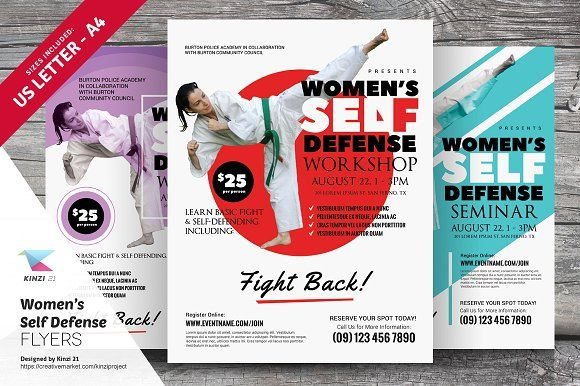 Womenu0027s Self Defense Flyer Templates by kinzi21 on @creativemarket - workshop flyer template