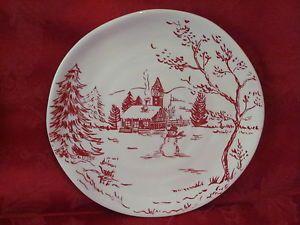 MAXCERA HOLIDAY TOILE SNOWMAN NORDIC WINTER CHRISTMAS SALAD PLATES SET OF 4 NEW & Maxcera holiday toile snowman nordic winter christmas salad plates ...