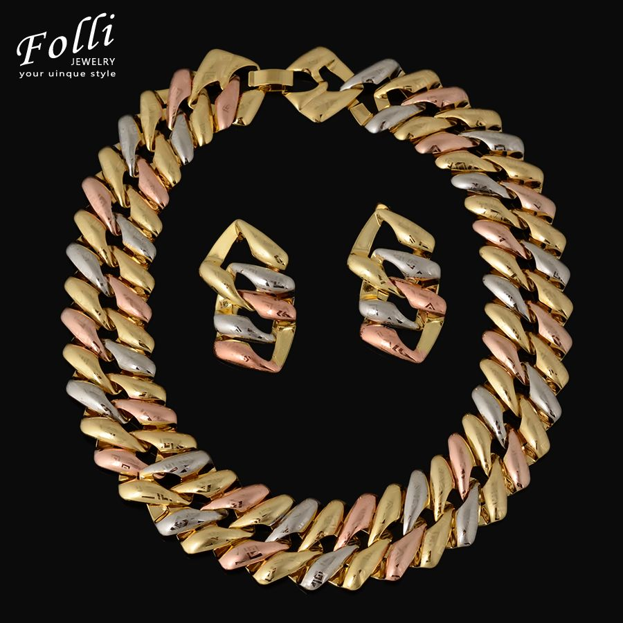 High fashion charms real gold plated jewelry set big choker necklace