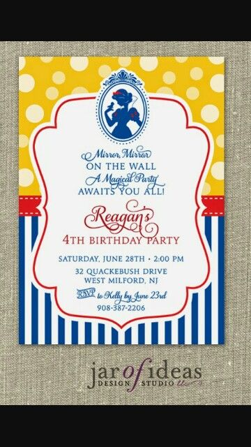 snow white disney princess - first birthday customized chalkboard, Birthday invitations