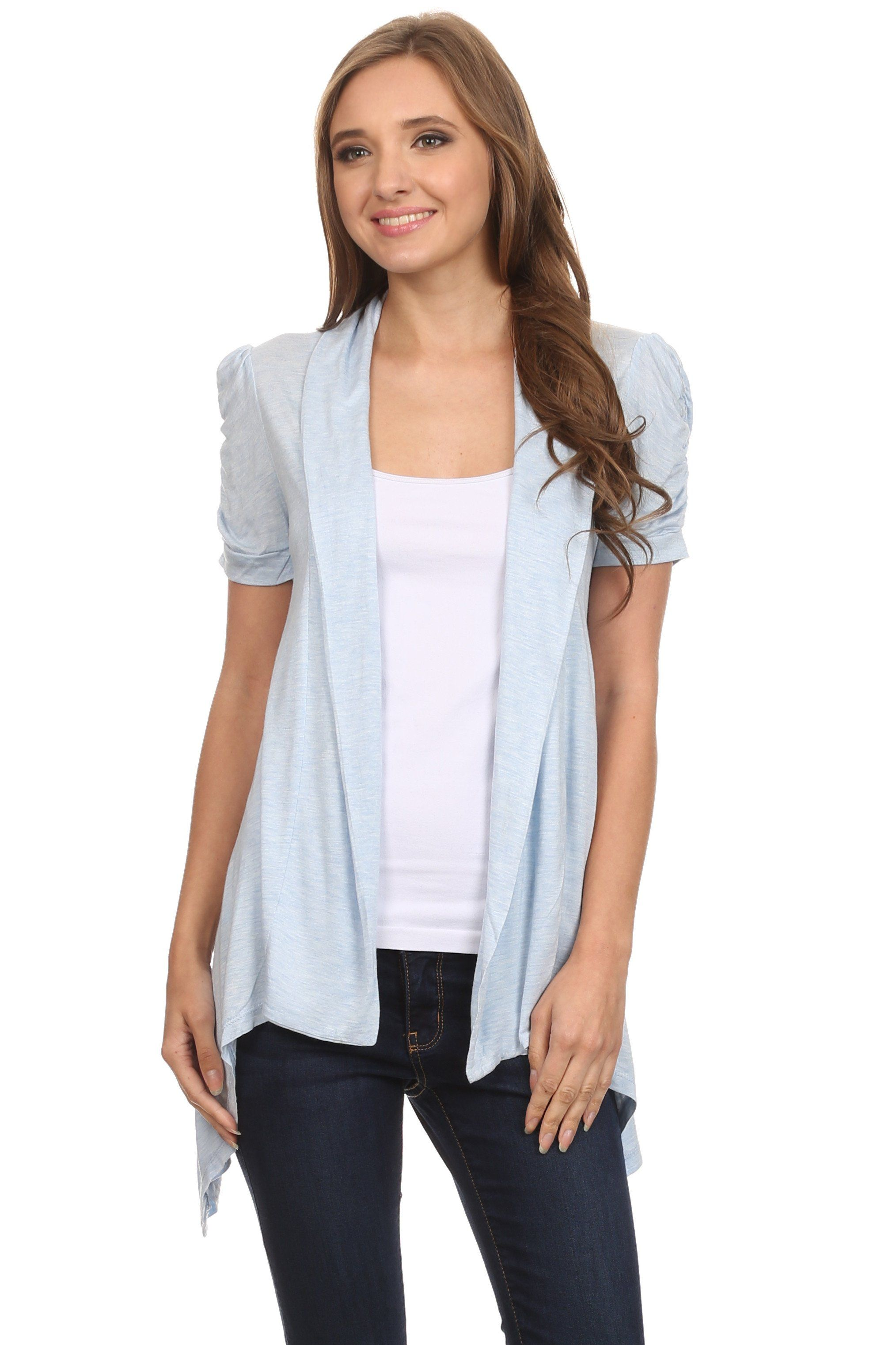 Short Sleeve Cardigan for Women Open Front Draped Flyaway Cardigan ...