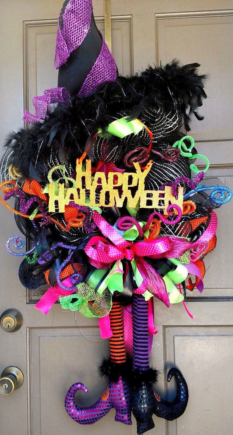 """happy halloween x-large 36"""" deco mesh witch posable legs hat wreath"""