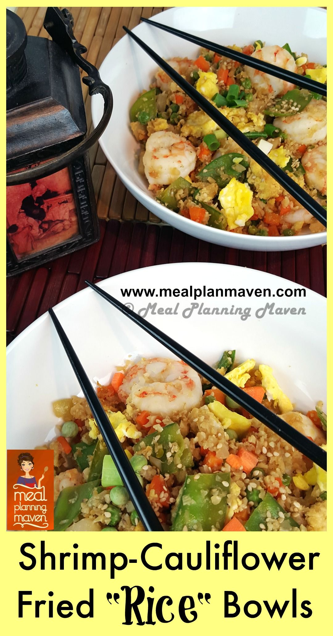 "Shrimp-Cauliflower Fried ""Rice"" Bowls l Meal Planning Maven's Blog l It's no secret that cauliflower ""rice"" has been sweeping the nation as a carb lover's dream swap for the much more caloric and starchier grain. And if you crave healthier versions of traditional Chinese fried rice, you will love mine as it's much lower in carbs, sodium and MSG free!"