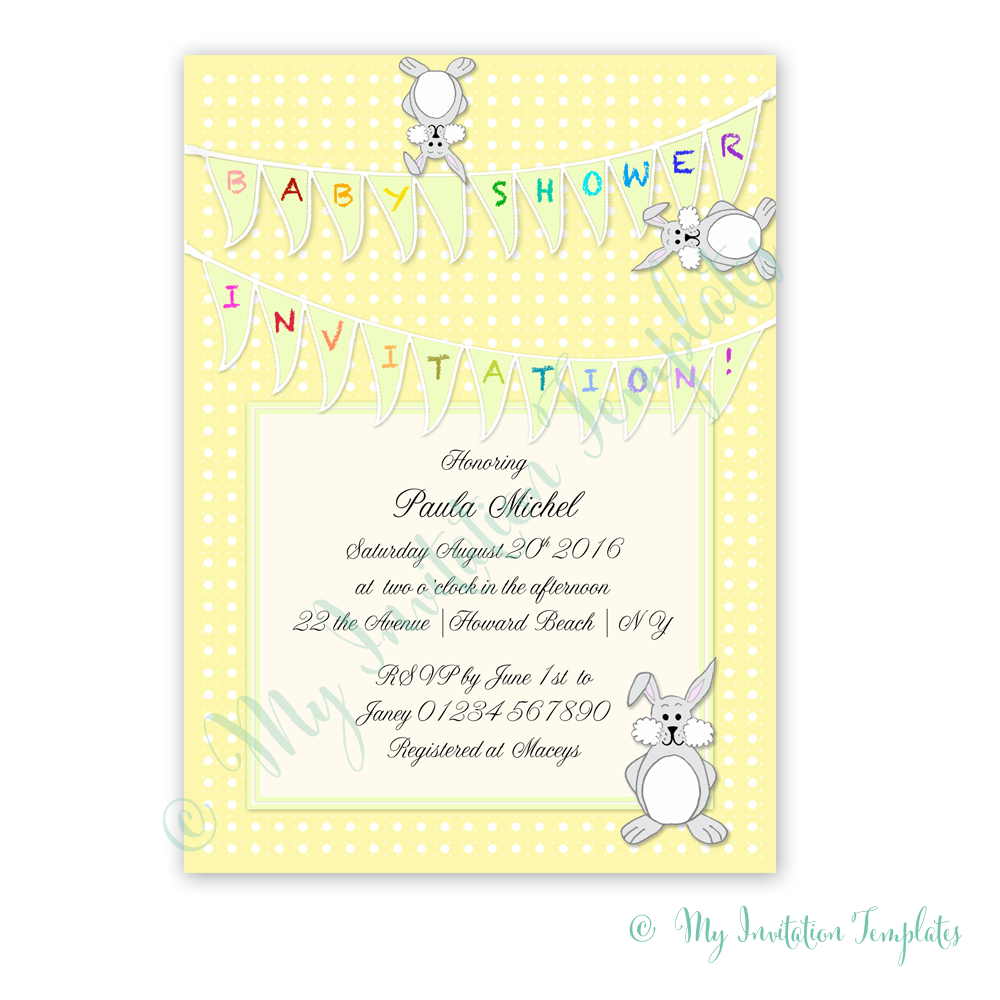 Printable Baby Shower Invitation Template Bunny Baby shower