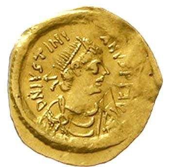 Justinian I. 527-565. tremissis 527 / 565, Constantinopel. Ratto 467ff. Fb. 76 very fine, slight embossing  Dealer Teutoburger Münzauktion &...
