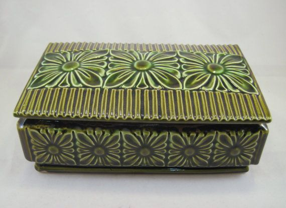 Mid Century Floral Ceramic Box California by SpiralCreations