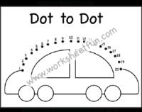 Dot To Dot Car Numbers 1 20 One Worksheet Dot To Dot