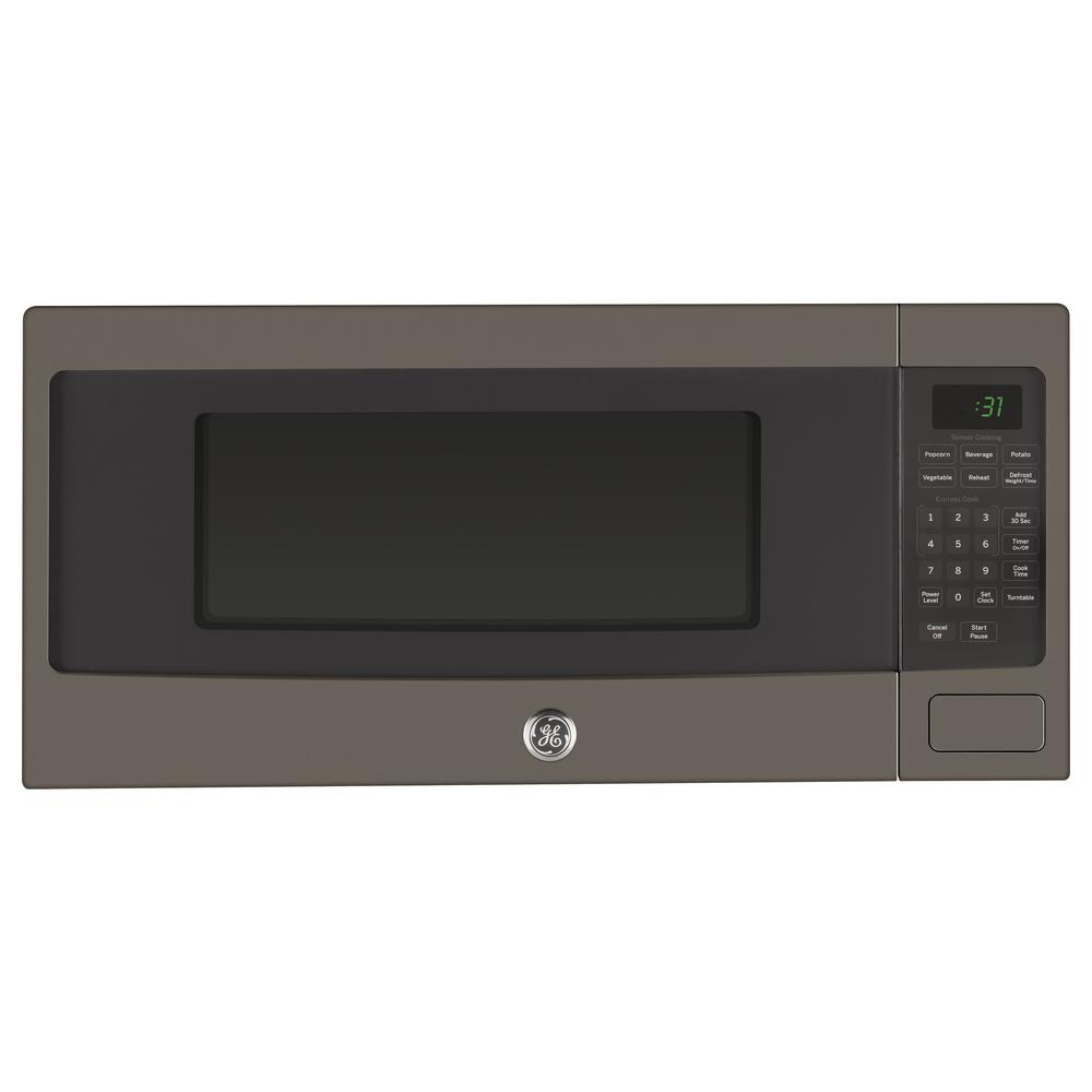 Ge Profile 1 1 Cu Ft Countertop Microwave In Slate With Sensor
