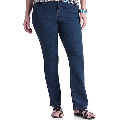3514346cafcb2 Walmart  Just My Size Women s Plus-Size Slimming Classic Fit Straight-Leg  Jeans With Tummy Control  18.97