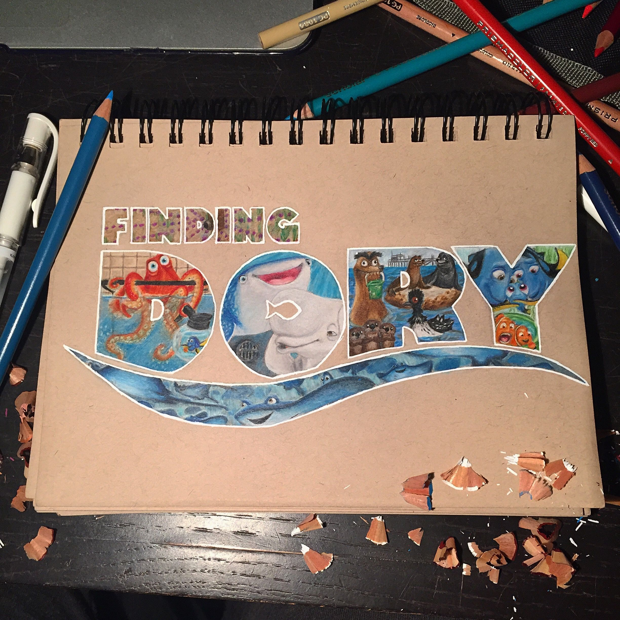 Finding Dory drawing I did Prismacolor pencils on Strathmore Toned Tan paper!