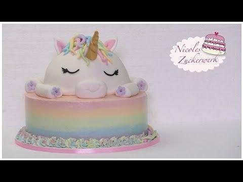 EinhornMotivtorte  Unicorn Cake  How to make  Torte