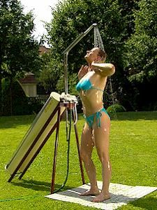 Solar fizz the worlds most flexible solar powered garden shower