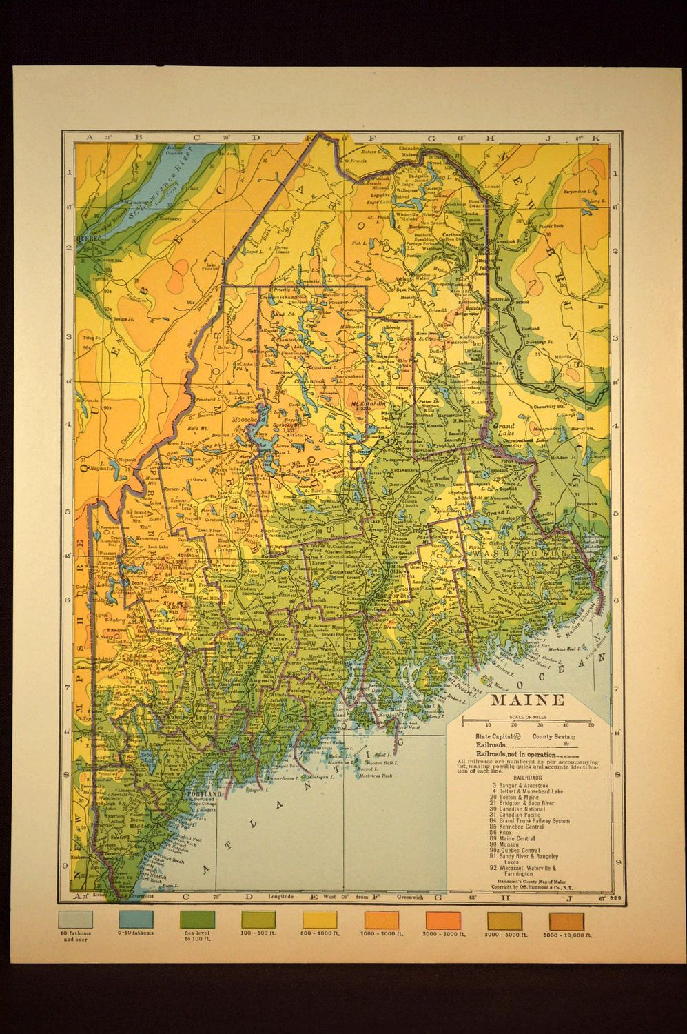 Maine Map Maine Topographic Map Colorful Colored Topo Map Wall - Topographical map of maine