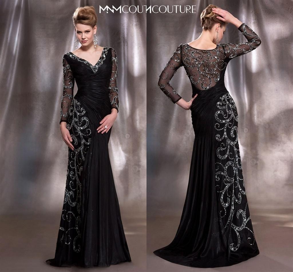 Mother of the bride dresses plus size formal black v neck long