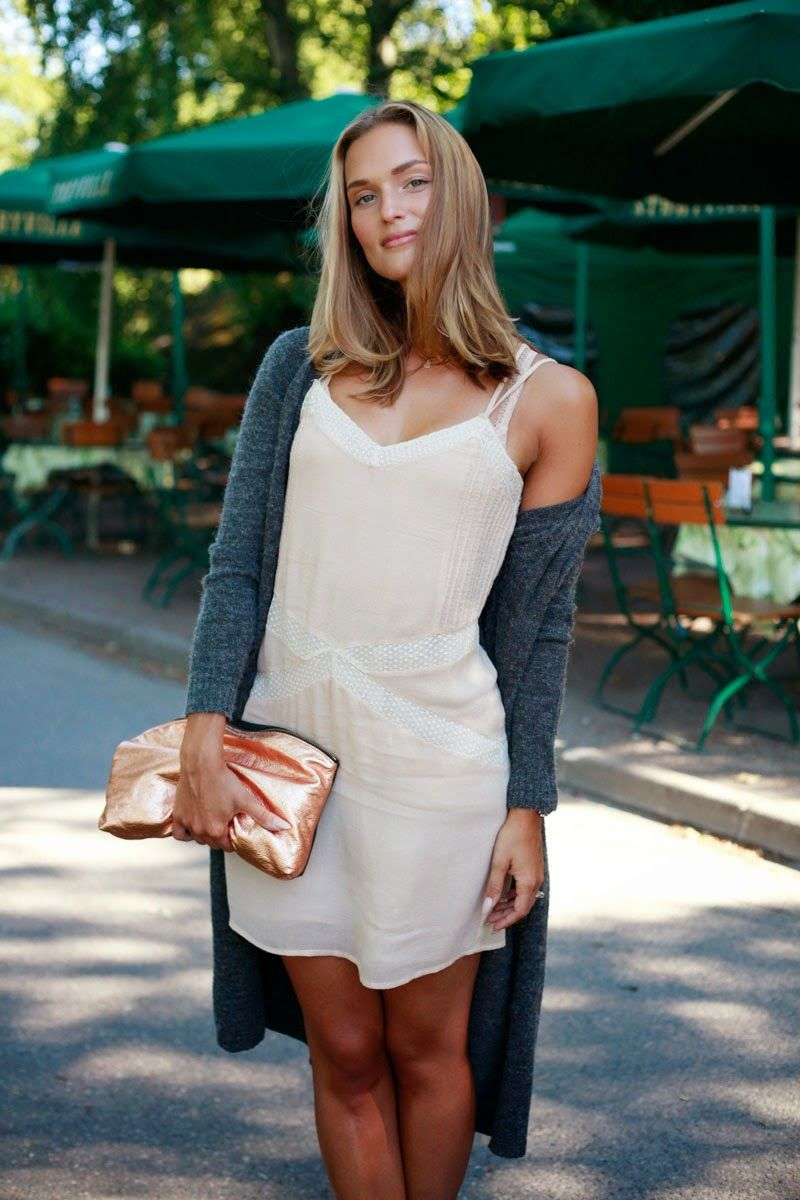 Nude slip dress long cardigan and rose gold accessories