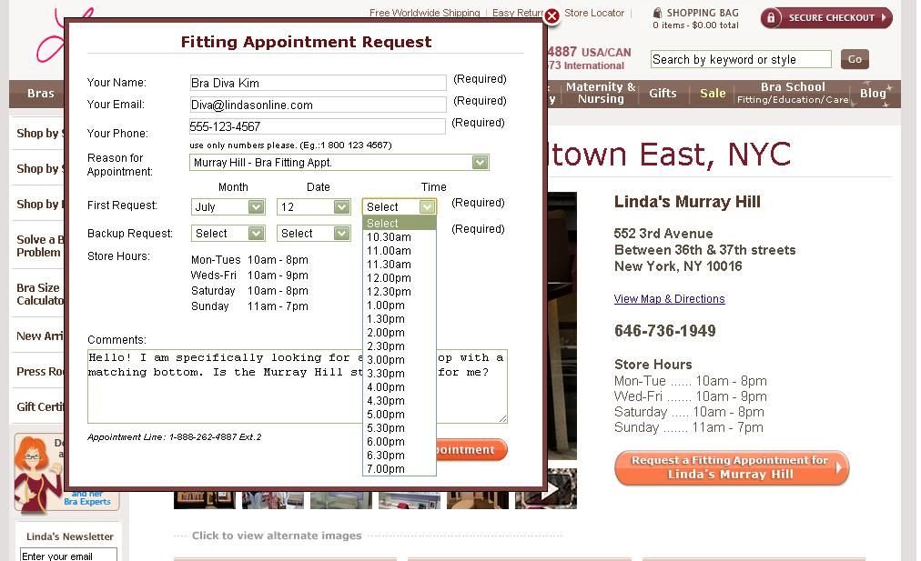 Your Fitting Appointment At LindaS Request An Appointment Online
