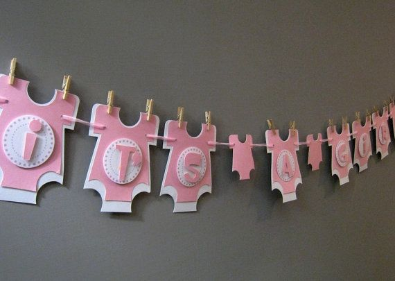 It S A Girl Baby Shower Banner By Pinkdotsetc On Etsy Baby Shower Banner Its A Girl Banner Girl Baby Shower