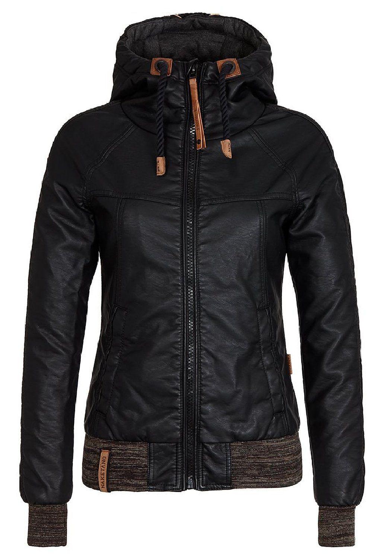 78ec20be0de5 Dámská koženková bunda s kapucí černá