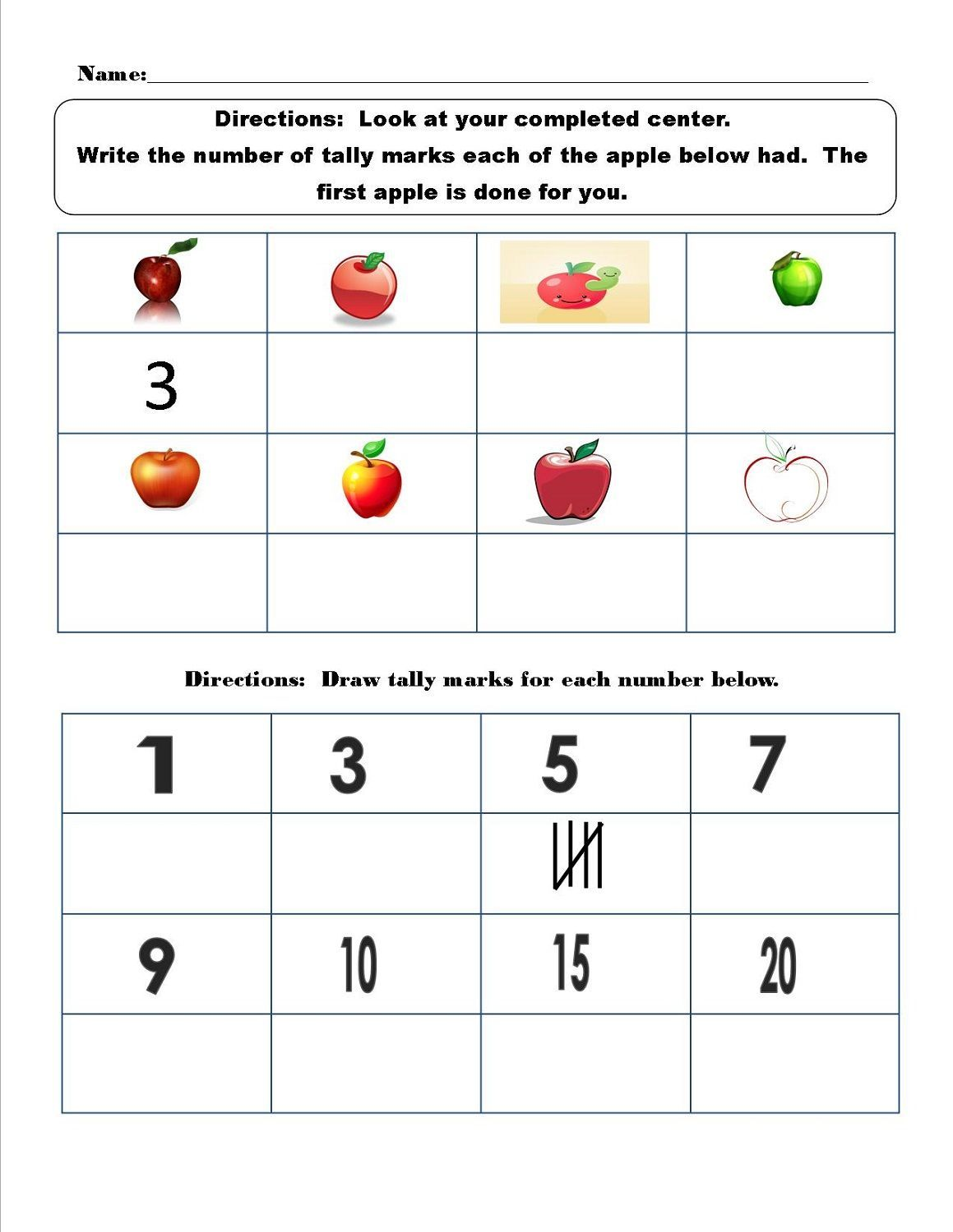 Tally Mark Worksheet