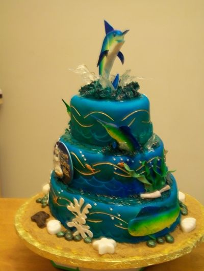 5 ft Blue Marlin cake fondant Rustys Cakes Pinterest Blue