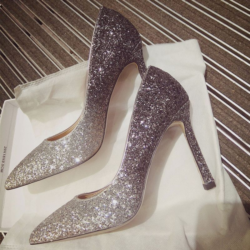 Charming Gradient Color Silver Wedding Shoes 2019 Sequins 10 Cm Stiletto Heels Pointed Toe Wedding Pumps Silver Wedding Shoes Wedding Shoes Stiletto Heels