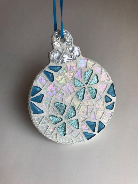Stained Glass Mosaic Christmas Ornament Stained by BlueOceanGlass - Stained Glass Mosaic Christmas Ornament, Stained Glass Hanging