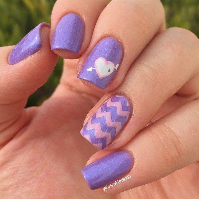 Lavender And Pastel Pink Chevron Nails With Heart Kuku Ungu Desain Kuku Kuku