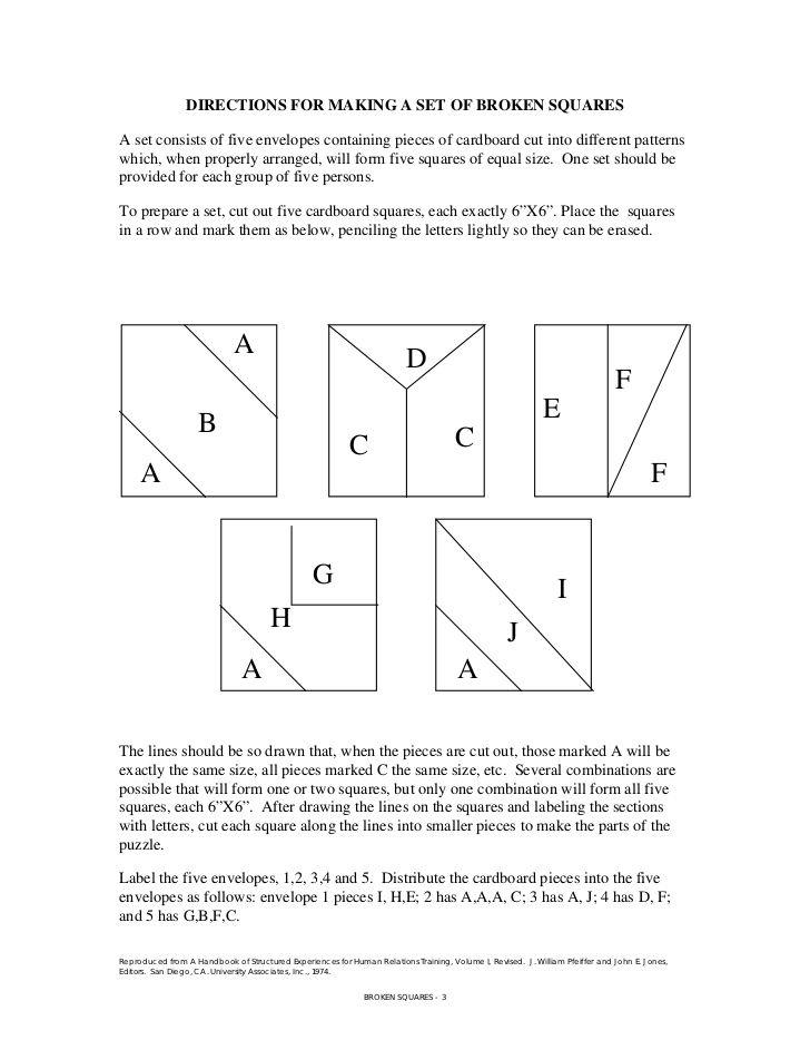 Image Result For Broken Squares Team Building Game Template