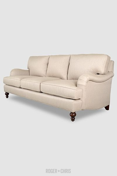 Roger Chris Blythe Pillow Back English Roll Arm Sofa In Posh