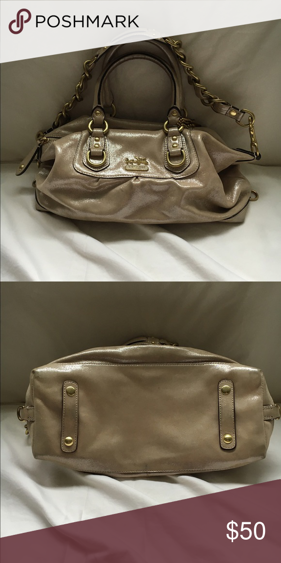 99389bf53a3 Coach bag Small bag. Beige with sparkle, light purple lining and gold  accents. Gently used. Too small for me. Coach Bags Mini Bags