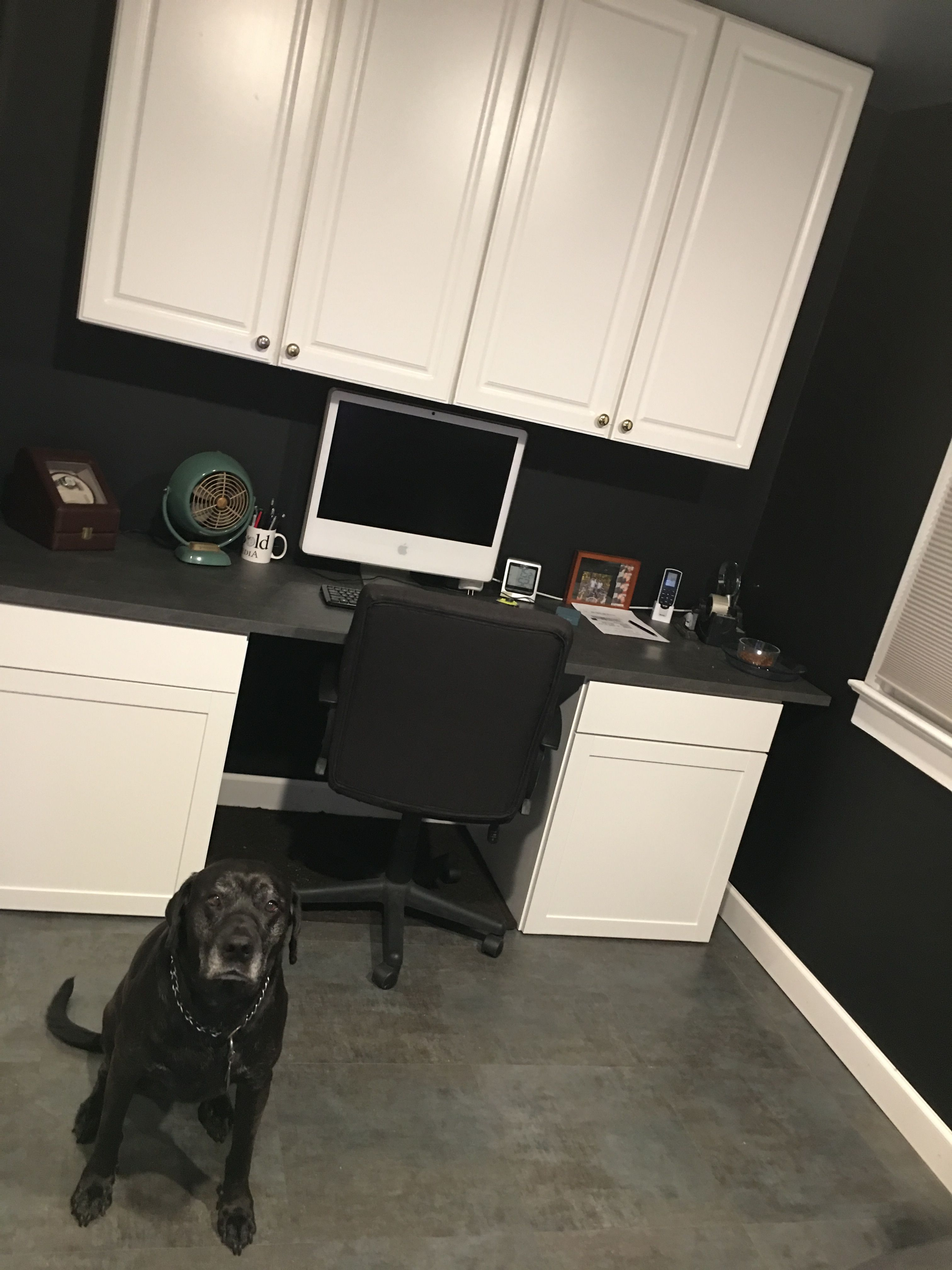 Black painted office, craigslist cabinets, ikea counter ...
