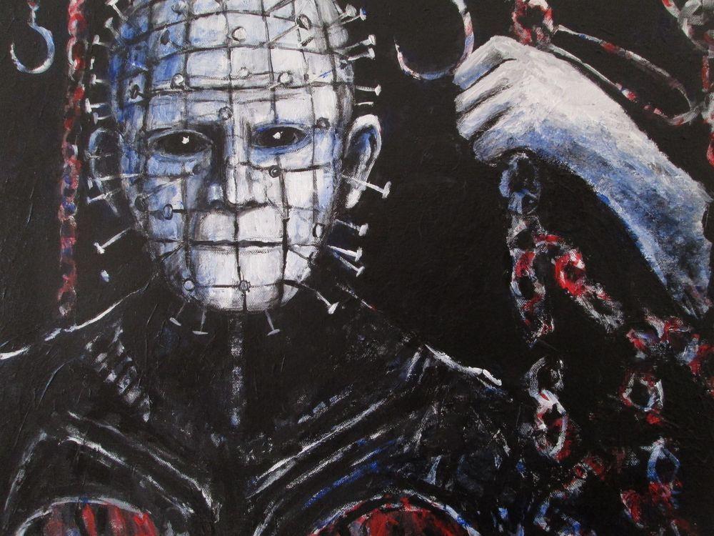 """PINHEAD"""" ,acrylic ,canvas 16""x20"" by jack larson"