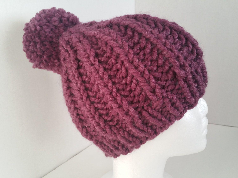 ef85f619e47 Purple Fisherman Knit Hat with BIG Pom Pom - Chunky Knit Rib Hat - Soft  Wool Purple Knit Hat - Cozy Knit Hat - Purple Chunky Knit Hat by  SillyLittleBlackCat ...