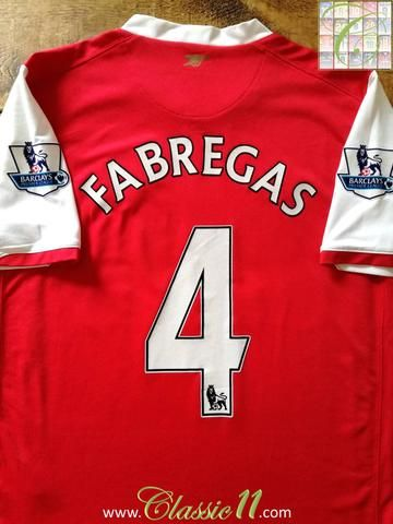 73f12b18d Official Nike Arsenal home football shirt from the 2006 2007 season.  Complete with Fabregas  4 on the back of the shirt in Premier League  lettering.
