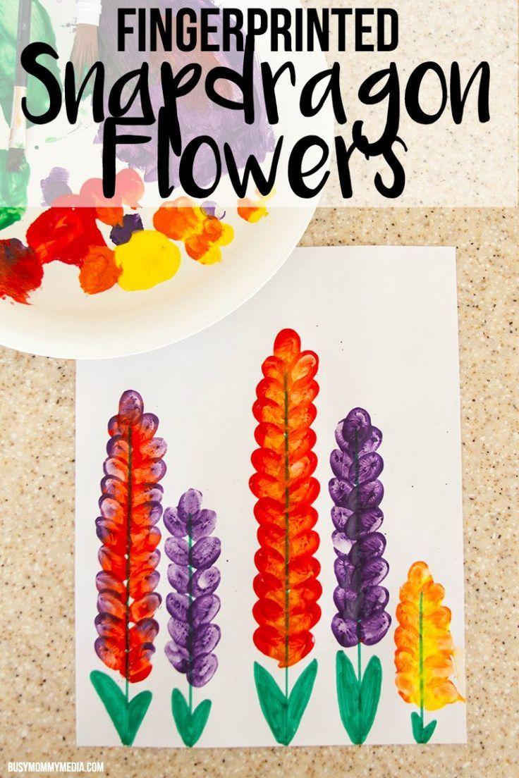 Photo of Spring Art for Kids – Fingerprinted Snapdragon Flowers
