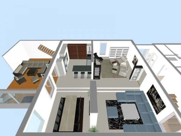 3d Floor Plan With Multiple Rooms And Real Brand Name Furniture
