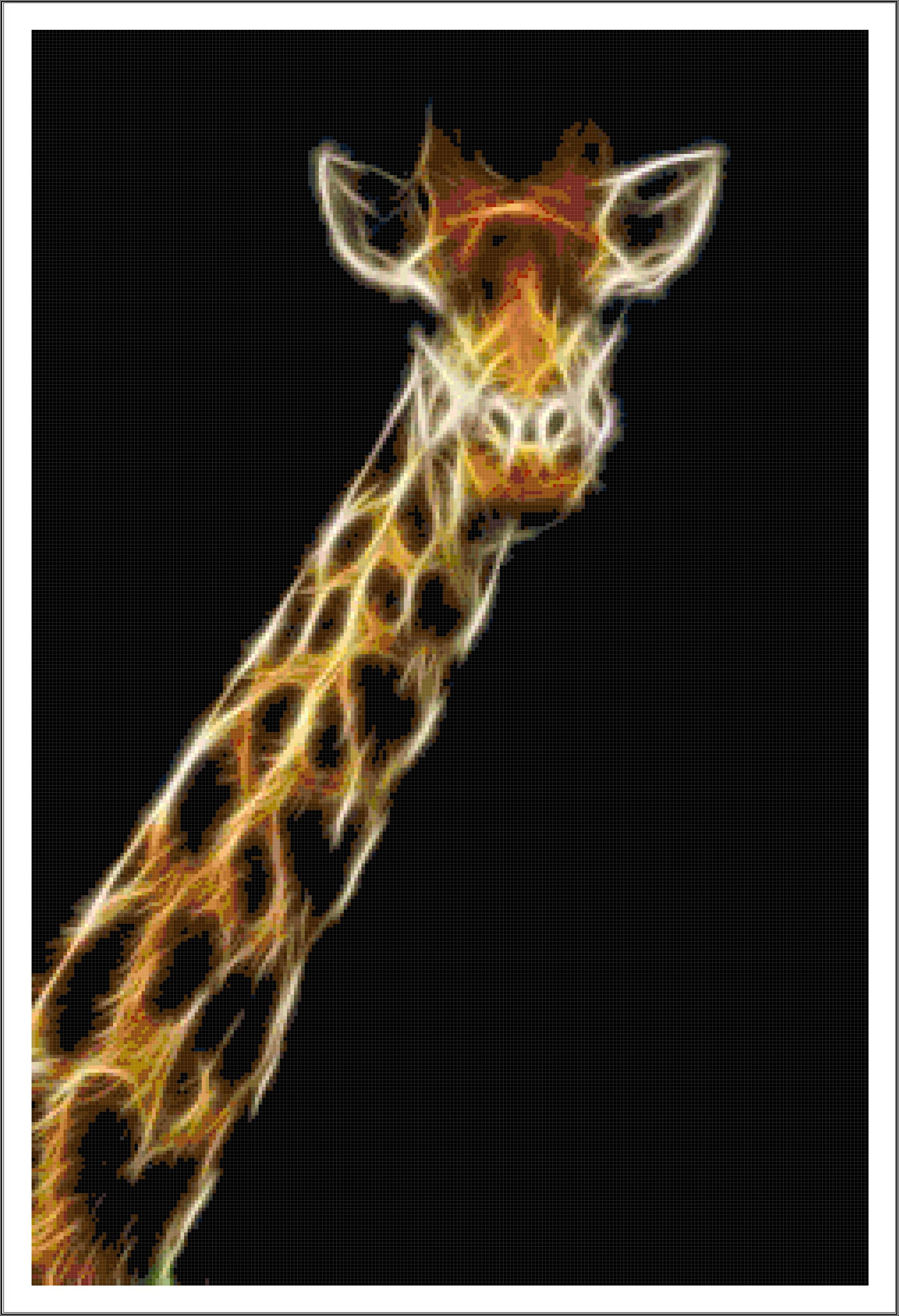 Fractal april the giraffe tribute cross stitch printable needlework