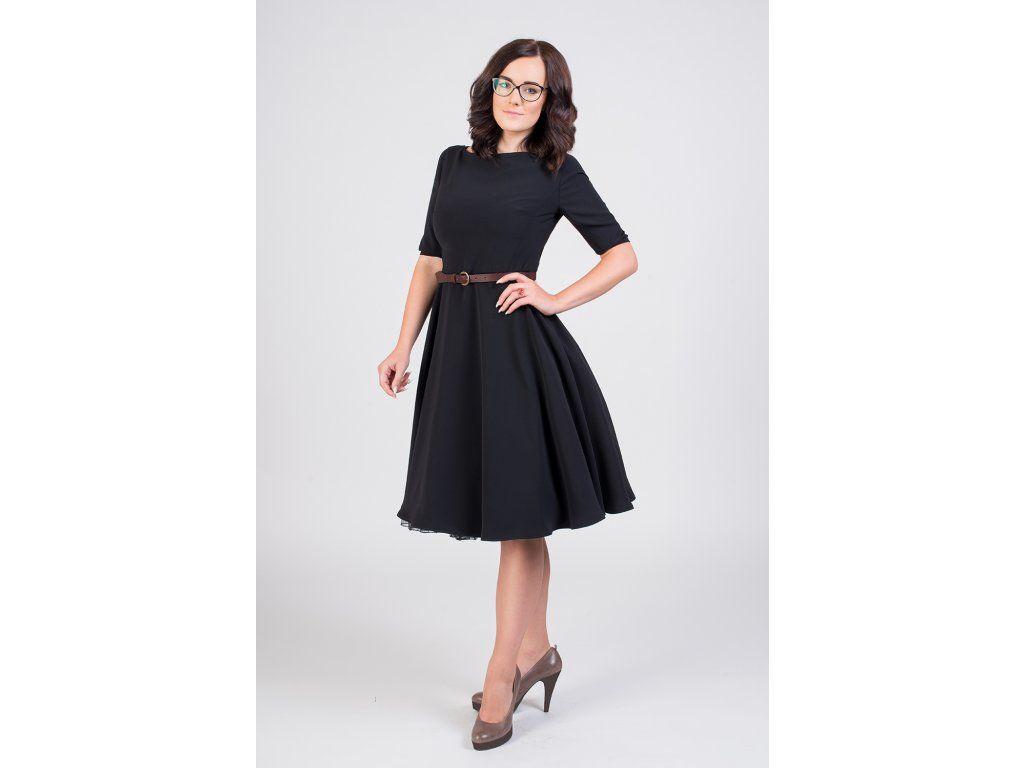 ADELE retro šaty černé. lodičkový výstřih 3 4 rukáv s manžetkou a  knoflíčkem kolová sukně délka sukně 60 cm 9f9aaee311