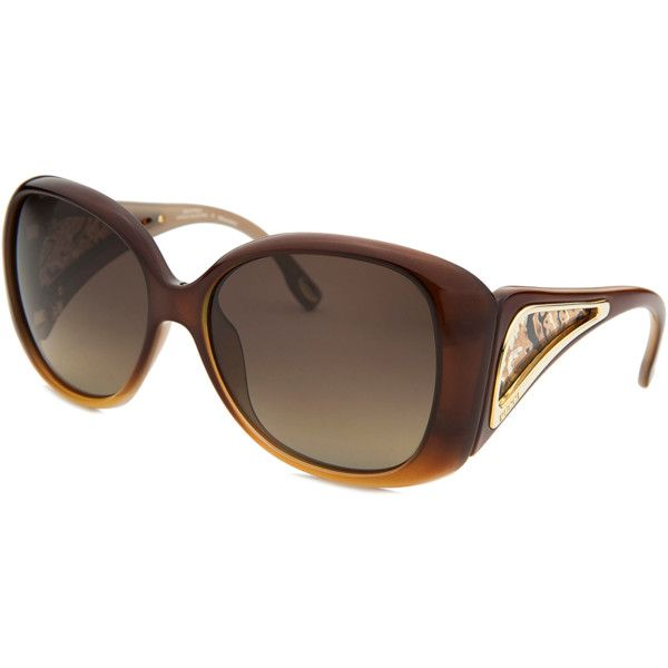 Emilio Pucci Women's Capsule Oversized Brown Gradient Sunglasses... (£45) ❤ liked on Polyvore featuring accessories, eyewear, sunglasses, brown, gradient sunglasses, emilio pucci sunglasses, star sunglasses, mirrored sunglasses and animal print sunglasses