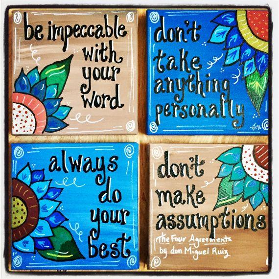 Los Cuatro Acuerdos Juego De 4 Lonas De 6 X 6 Por Creatingcadence Acrylic Painting Diy The Four Agreements I Need God