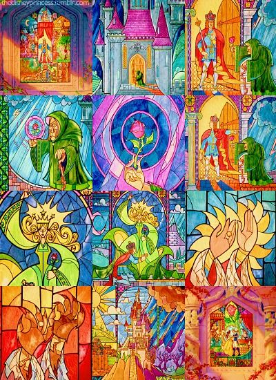 All Of The Disney S Beauty And The Beast Stained Glass Movie