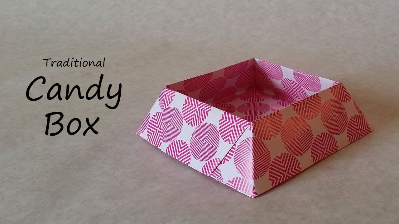 A Tutotial On How To Fold The Traditional Candy Box Origami Candy Box Origami Box Easy Origami Candy
