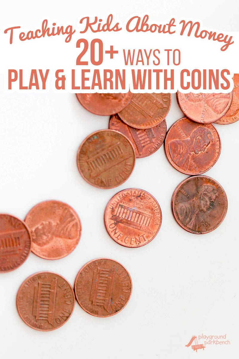 Teaching money to kids can start as soon as they can count. Check out more than 20 simple activities to play and learn with coins for kids of all ages, from toddlers and preschoolers, to grade school STEM challenges. | Money | STEM | STEAM | Preschool | Elementary | Kids Activities | Learning Activity