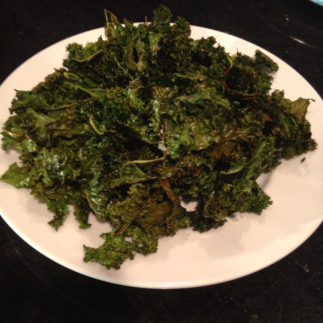 These kale chips are really easy to make all you need is olive oil,kale,a cookie sheet,and sea salt