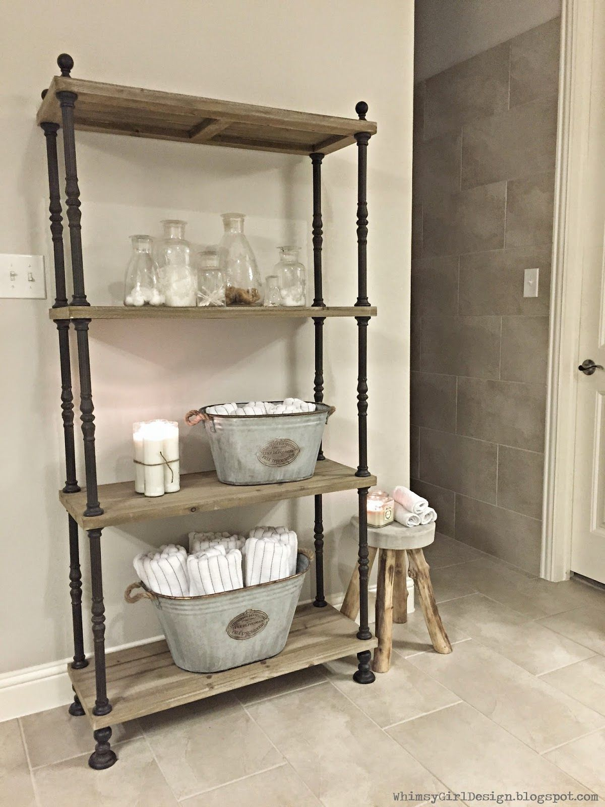 whimsy girl: Master Bathroom shelf. Towel storage, reclaimed shelf ...