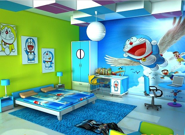 Doraemon Room Warna Eksterior Rumah Kamar Tidur Anak Kamar Tidur