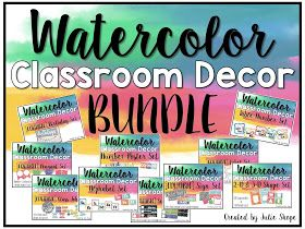 Watercolor Classroom Decor The Bundle Classroom Classroom