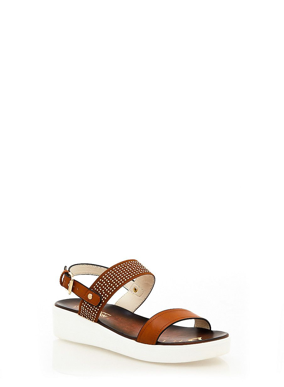 Rainbow Shops Brown Studded Slide Sandals With Ankle Strap $24.99