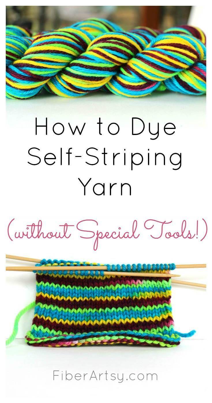 How to Dye Self Striping Yarn by #dyeingtutorials How to Dye Self Striping Yarn (without special tools) - one of many yarn dyeing tutorials from FiberArtsy.com #dyeingtutorials